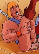 He-man attacks cocks